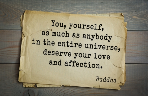 Buddha quote on old paper background. You, yourself, as much as